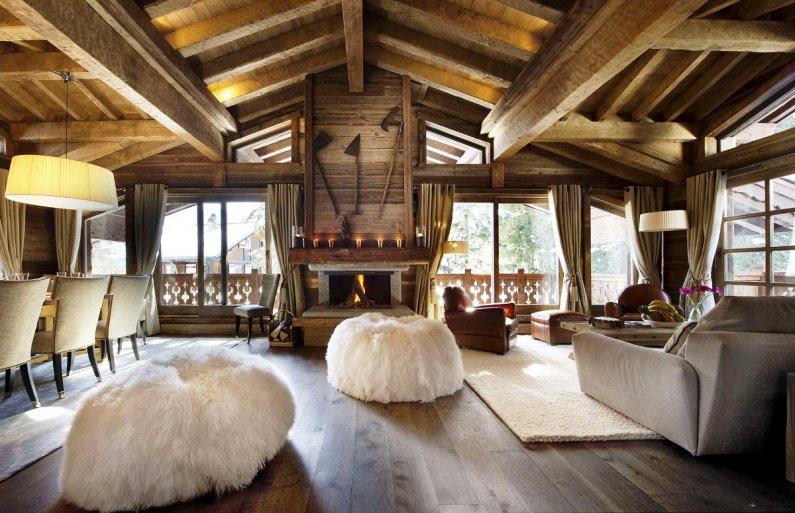 Дом из бревна фото интерьера внутри  Интерьер деревянного