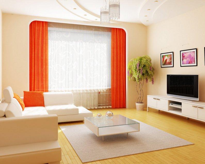 теплый оранжевый цвет в оформлении гостиной