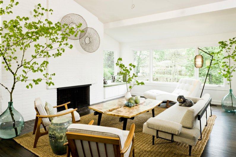 Фото гостиной с использованием в дизайне эко стиля