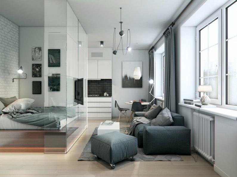 гостиная-спальня со стеклянной перегородкой