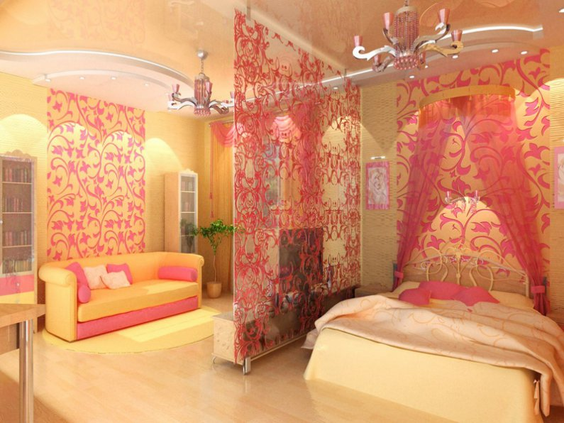 Декоративная ширма разделяющая гостиную и спальню