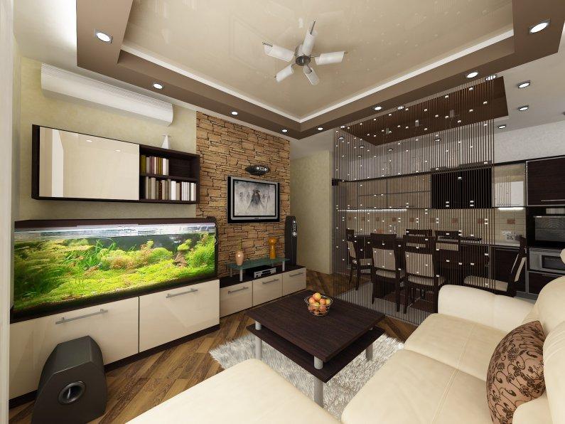 Дизайн кухни гостиной 20 кв. м. фото