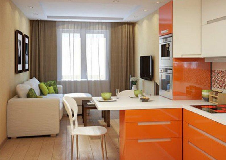 Удачная планировка кухни-гостиной