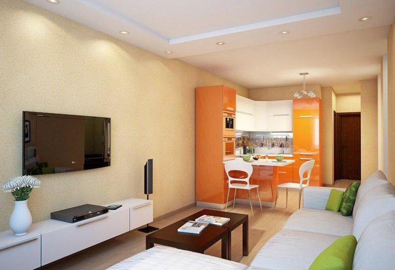 Сочные цвета придадут настроение кухне-гостиной