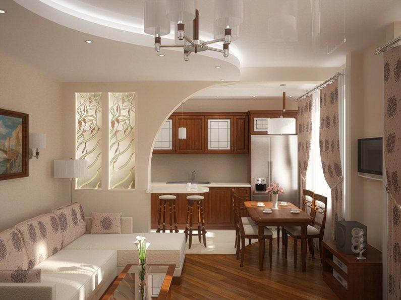 Мебель в кухне совмещенной с гостиной площадью 20 метров