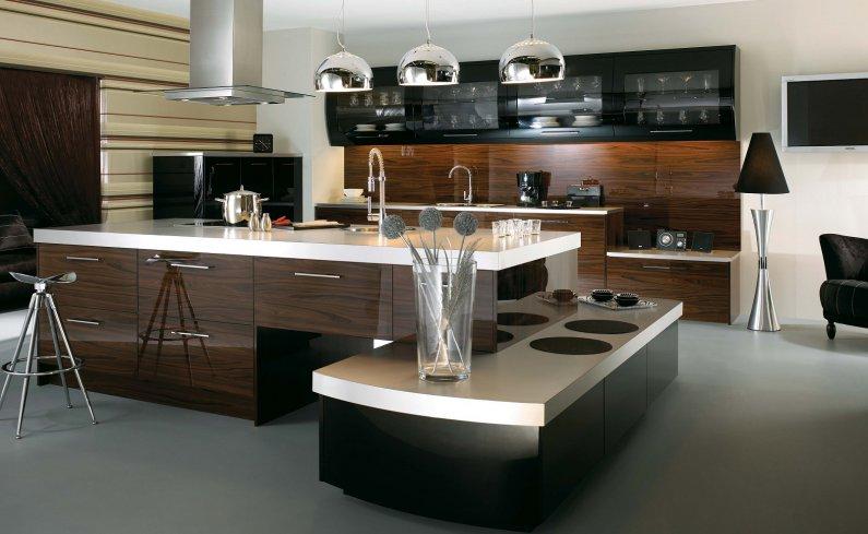 Натуральный шпон в отделке современной кухни