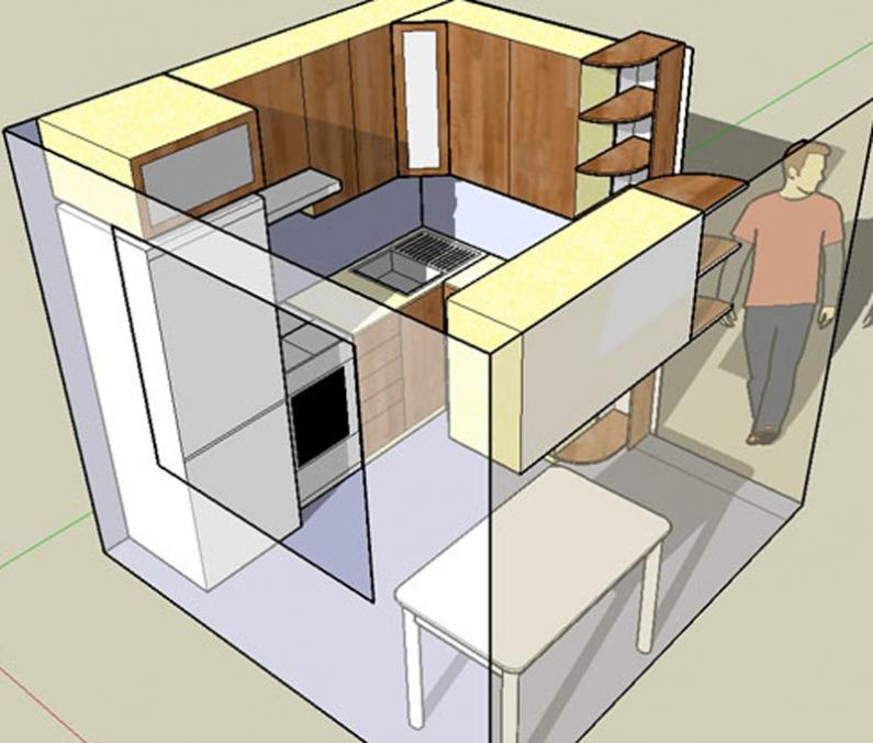 вариант планировки маленькой кухни