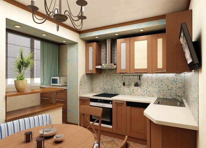 Вариант увеличения пространства на кухне за счет балкона