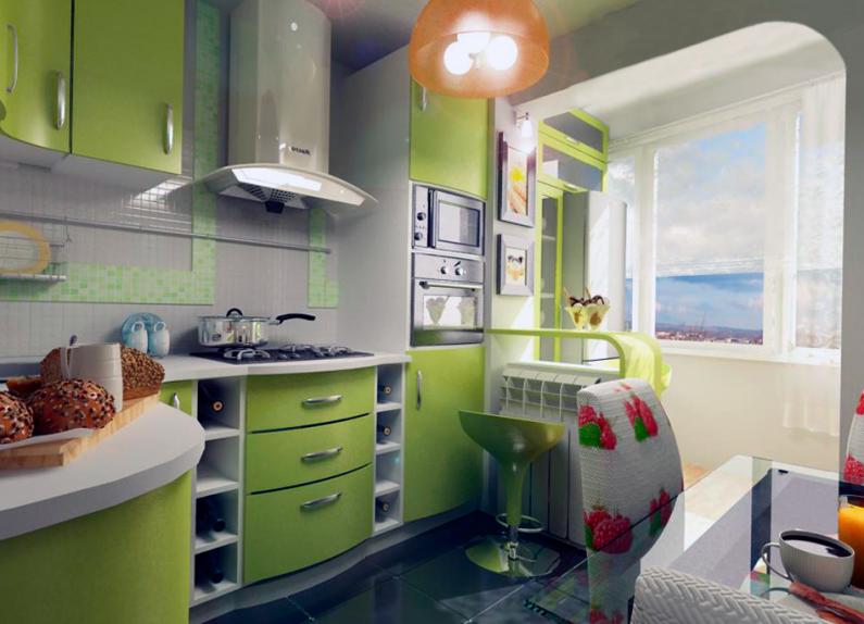 Маленькая кухня в зеленом цвете с угловым кухонным гарнитуром