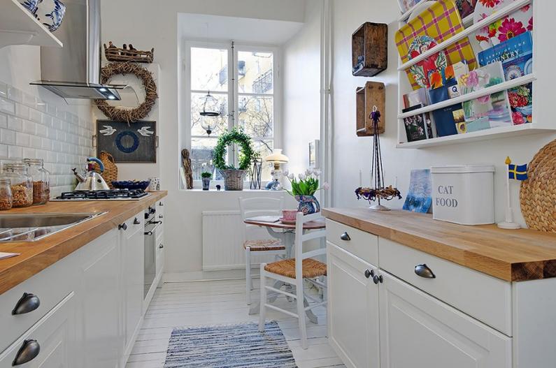 Скандинавский стиль в небольшой кухне