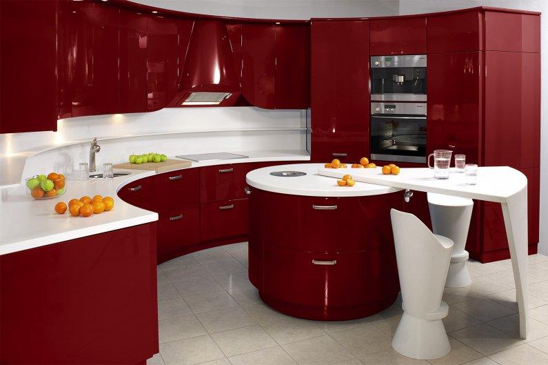 Дизайн кухни вишневого цвета