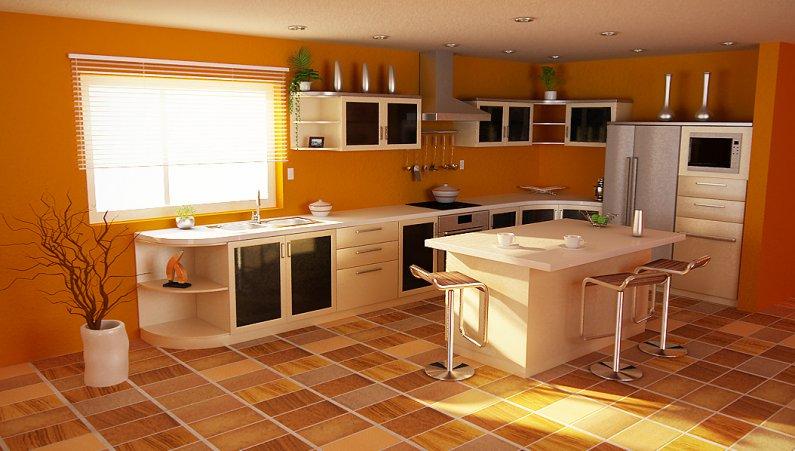 Дизайн кухни в оранжевых цветах