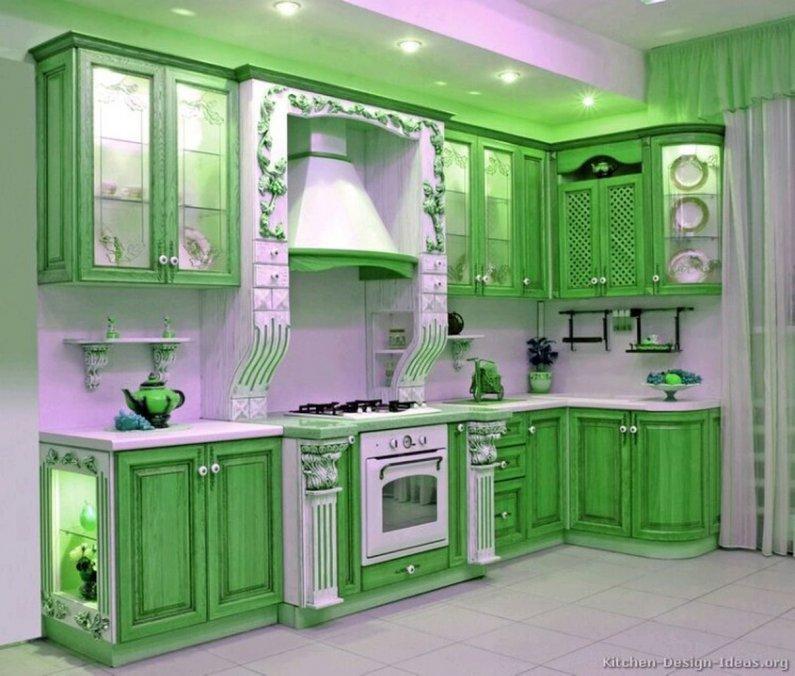 Фото - дизайн зеленой кухни