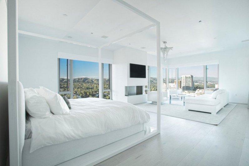 Интерьер спальни в белых тонах фото